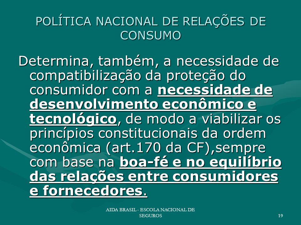 AIDA BRASIL - ESCOLA NACIONAL DE SEGUROS19 POLÍTICA NACIONAL DE RELAÇÕES DE CONSUMO Determina, também, a necessidade de compatibilização da proteção d