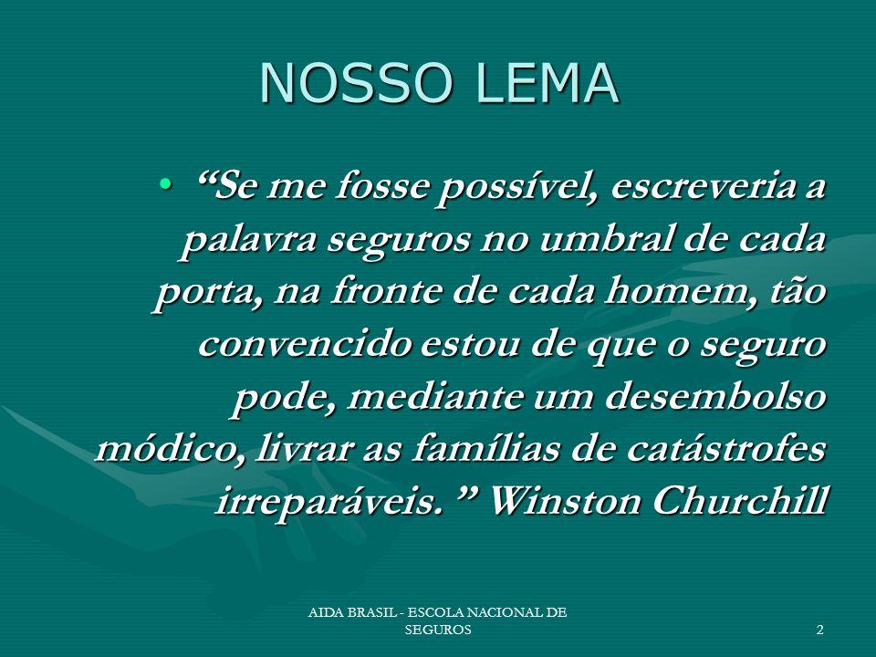 AIDA BRASIL - ESCOLA NACIONAL DE SEGUROS2 NOSSO LEMA Se me fosse possível, escreveria a palavra seguros no umbral de cada porta, na fronte de cada hom