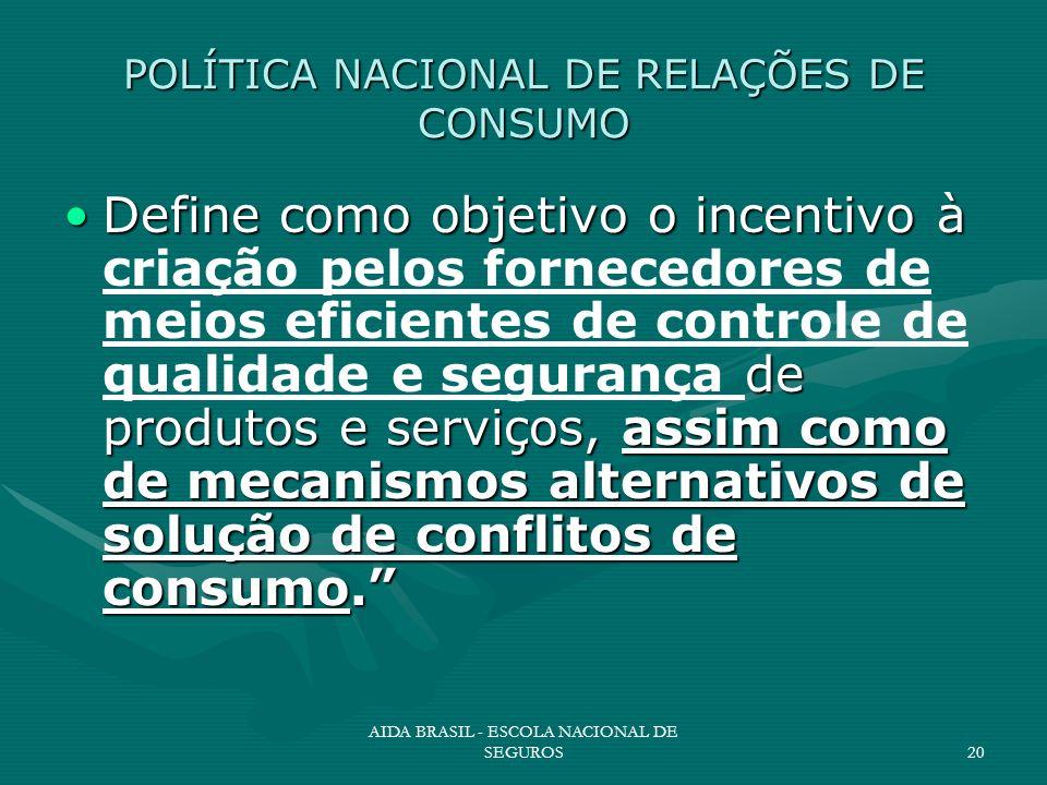 AIDA BRASIL - ESCOLA NACIONAL DE SEGUROS20 POLÍTICA NACIONAL DE RELAÇÕES DE CONSUMO Define como objetivo o incentivo à de produtos e serviços, assim c