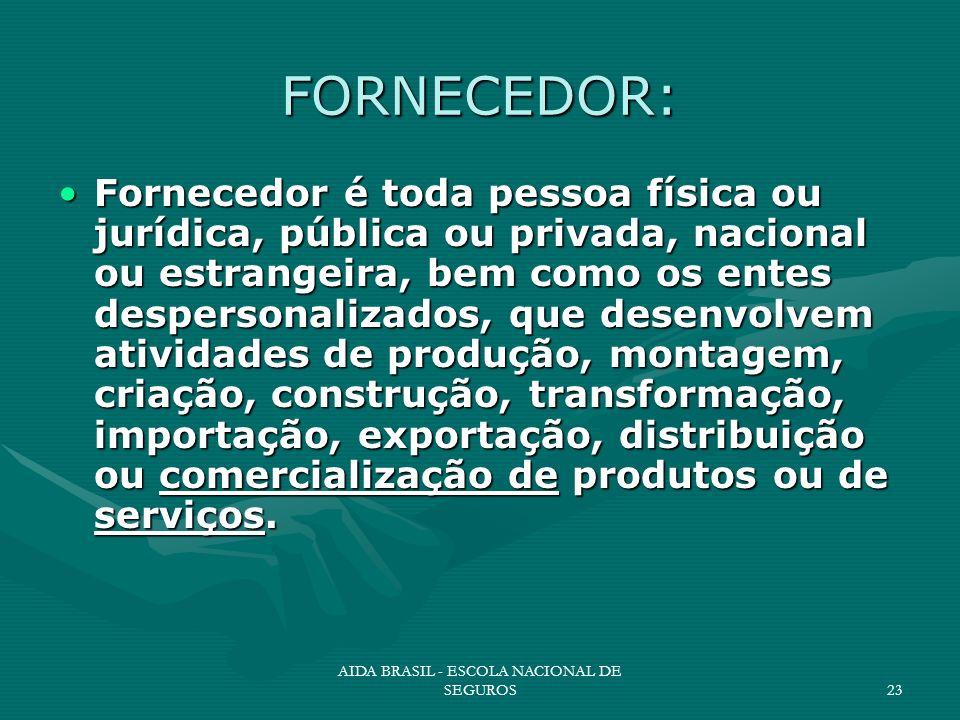 AIDA BRASIL - ESCOLA NACIONAL DE SEGUROS23 FORNECEDOR: Fornecedor é toda pessoa física ou jurídica, pública ou privada, nacional ou estrangeira, bem c