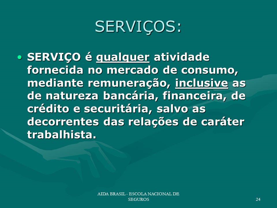 AIDA BRASIL - ESCOLA NACIONAL DE SEGUROS24 SERVIÇOS: SERVIÇO é qualquer atividade fornecida no mercado de consumo, mediante remuneração, inclusive as