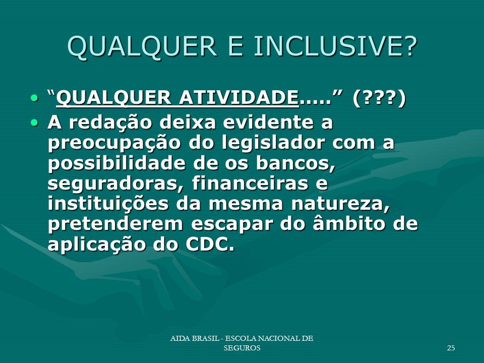 AIDA BRASIL - ESCOLA NACIONAL DE SEGUROS25 QUALQUER E INCLUSIVE? QUALQUER ATIVIDADE..... (???)QUALQUER ATIVIDADE..... (???) A redação deixa evidente a
