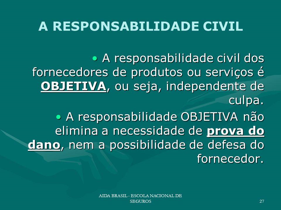 AIDA BRASIL - ESCOLA NACIONAL DE SEGUROS27 A RESPONSABILIDADE CIVIL A responsabilidade civil dos fornecedores de produtos ou serviços é OBJETIVA, ou s
