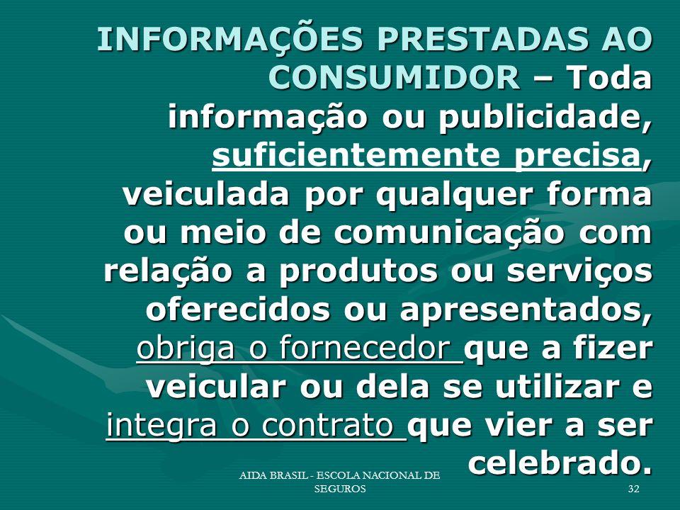 AIDA BRASIL - ESCOLA NACIONAL DE SEGUROS32 INFORMAÇÕES PRESTADAS AO CONSUMIDOR – Toda informação ou publicidade,, veiculada por qualquer forma ou meio