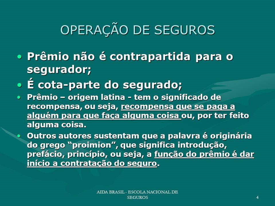 AIDA BRASIL - ESCOLA NACIONAL DE SEGUROS4 OPERAÇÃO DE SEGUROS Prêmio não é contrapartida para o segurador;Prêmio não é contrapartida para o segurador;