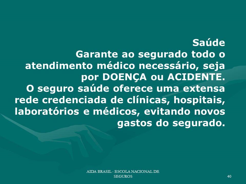 AIDA BRASIL - ESCOLA NACIONAL DE SEGUROS40 Saúde Garante ao segurado todo o atendimento médico necessário, seja por DOENÇA ou ACIDENTE. O seguro saúde