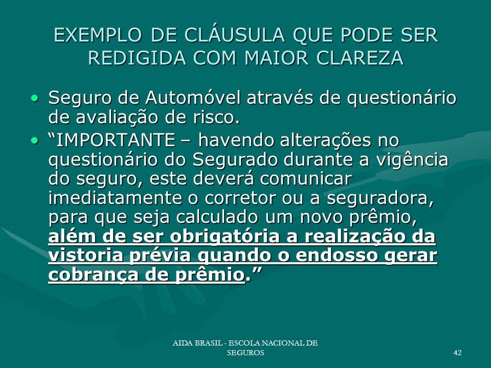 AIDA BRASIL - ESCOLA NACIONAL DE SEGUROS42 EXEMPLO DE CLÁUSULA QUE PODE SER REDIGIDA COM MAIOR CLAREZA Seguro de Automóvel através de questionário de