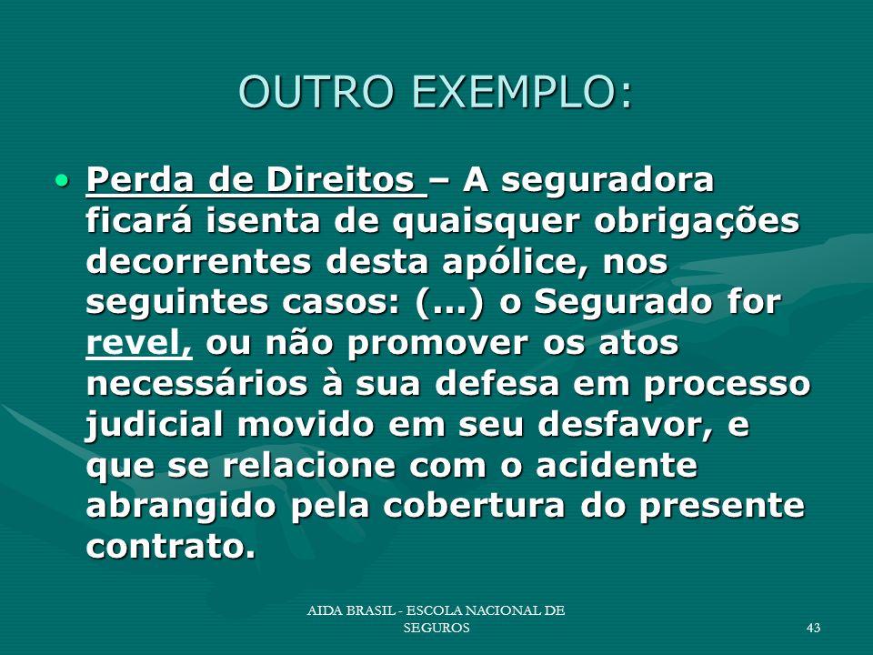 AIDA BRASIL - ESCOLA NACIONAL DE SEGUROS43 OUTRO EXEMPLO: Perda de Direitos – A seguradora ficará isenta de quaisquer obrigações decorrentes desta apó