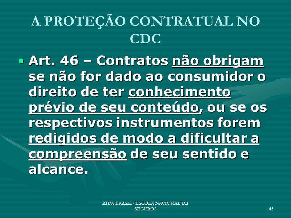 AIDA BRASIL - ESCOLA NACIONAL DE SEGUROS45 A PROTEÇÃO CONTRATUAL NO CDC Art. 46 – Contratos não obrigam se não for dado ao consumidor o direito de ter