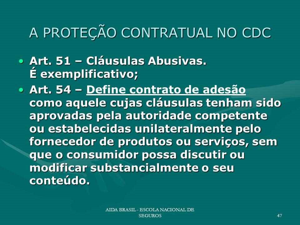 AIDA BRASIL - ESCOLA NACIONAL DE SEGUROS47 A PROTEÇÃO CONTRATUAL NO CDC Art. 51 – Cláusulas Abusivas. É exemplificativo;Art. 51 – Cláusulas Abusivas.