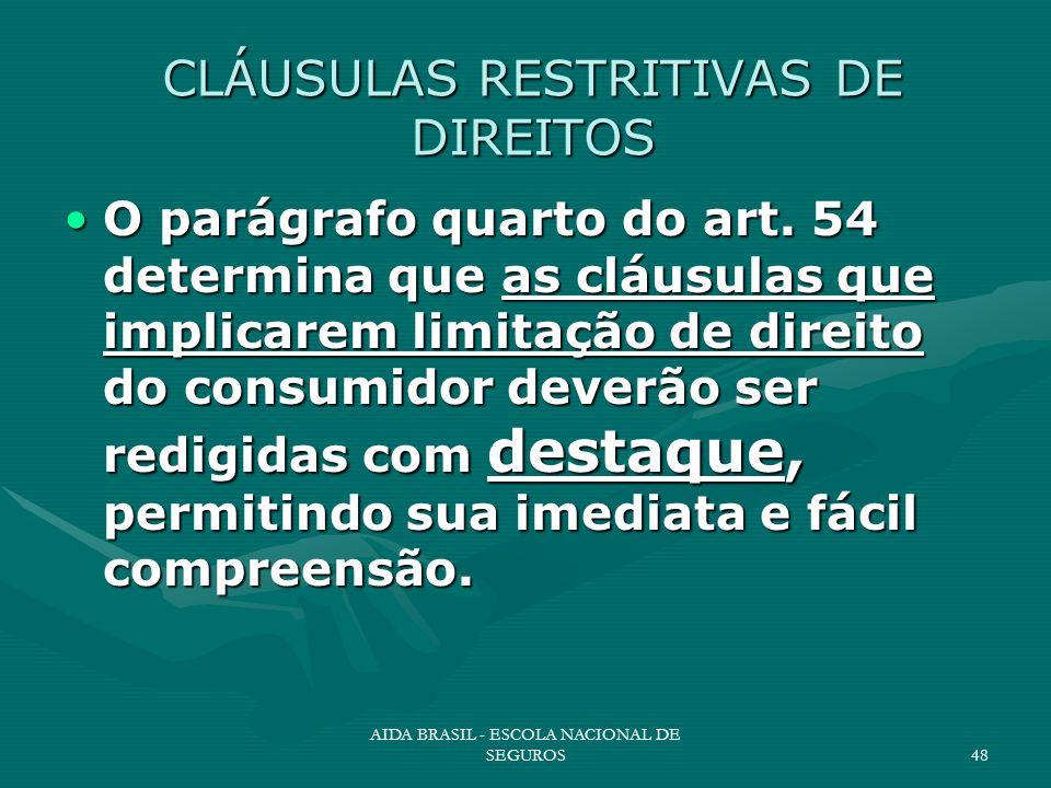 AIDA BRASIL - ESCOLA NACIONAL DE SEGUROS48 CLÁUSULAS RESTRITIVAS DE DIREITOS O parágrafo quarto do art. 54 determina que as cláusulas que implicarem l