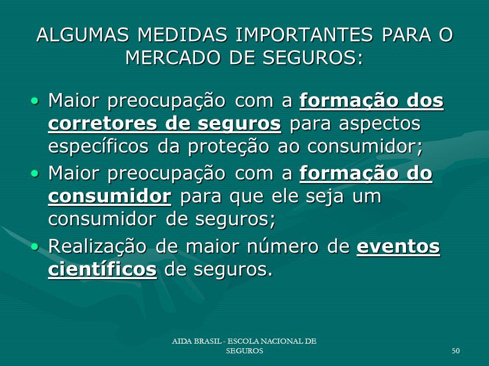 AIDA BRASIL - ESCOLA NACIONAL DE SEGUROS50 ALGUMAS MEDIDAS IMPORTANTES PARA O MERCADO DE SEGUROS: Maior preocupação com a formação dos corretores de s