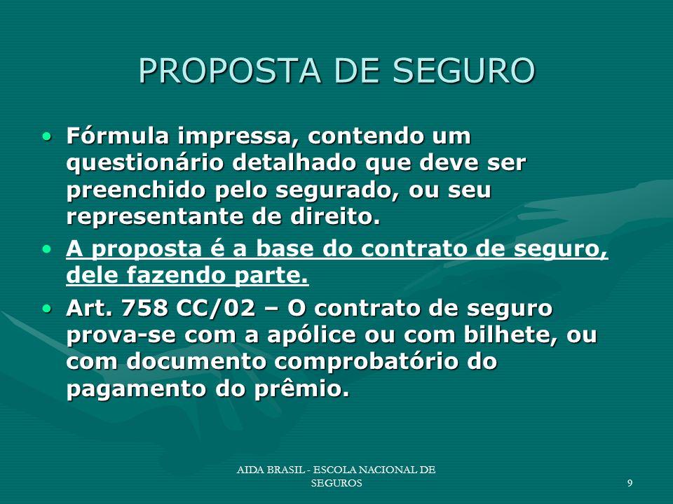 AIDA BRASIL - ESCOLA NACIONAL DE SEGUROS9 PROPOSTA DE SEGURO Fórmula impressa, contendo um questionário detalhado que deve ser preenchido pelo segurad