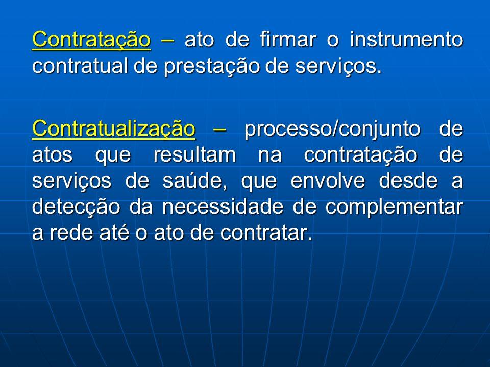 Contratação – ato de firmar o instrumento contratual de prestação de serviços. Contratualização – processo/conjunto de atos que resultam na contrataçã