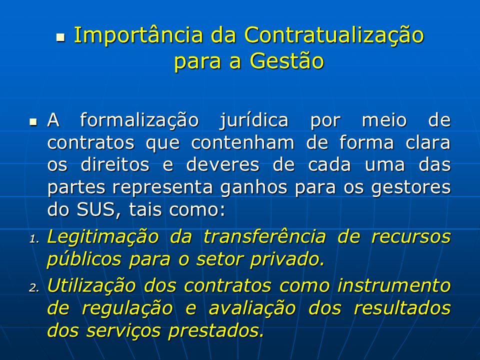 Importância da Contratualização para a Gestão Importância da Contratualização para a Gestão A formalização jurídica por meio de contratos que contenha