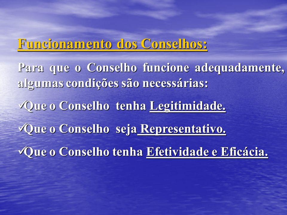 Funcionamento dos Conselhos: Para que o Conselho funcione adequadamente, algumas condições são necessárias: Que o Conselho tenha Legitimidade. Que o C