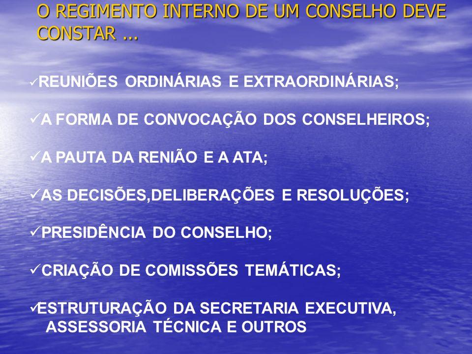 O REGIMENTO INTERNO DE UM CONSELHO DEVE CONSTAR... REUNIÕES ORDINÁRIAS E EXTRAORDINÁRIAS; A FORMA DE CONVOCAÇÃO DOS CONSELHEIROS; A PAUTA DA RENIÃO E
