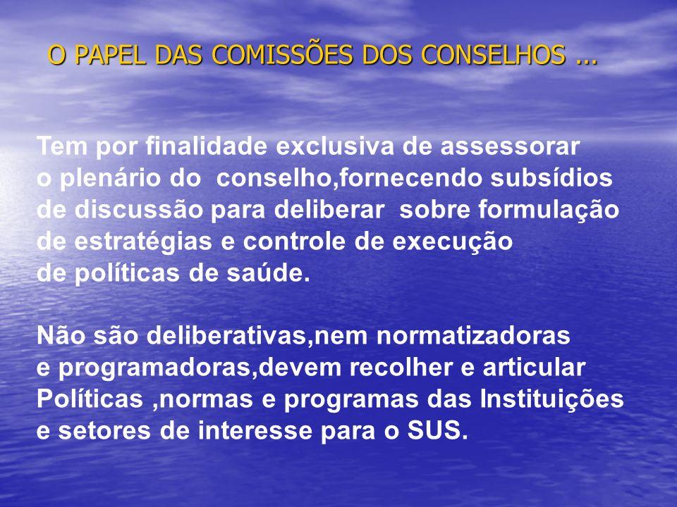 O PAPEL DAS COMISSÕES DOS CONSELHOS... Tem por finalidade exclusiva de assessorar o plenário do conselho,fornecendo subsídios de discussão para delibe