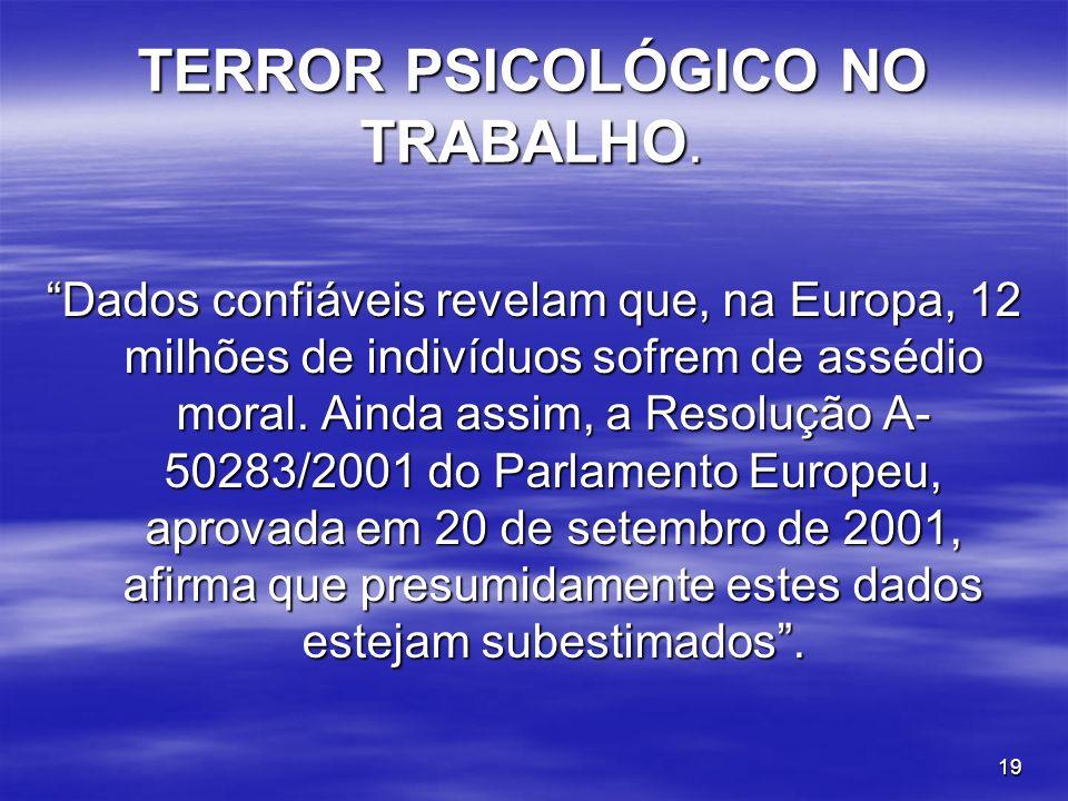 19 TERROR PSICOLÓGICO NO TRABALHO. Dados confiáveis revelam que, na Europa, 12 milhões de indivíduos sofrem de assédio moral. Ainda assim, a Resolução