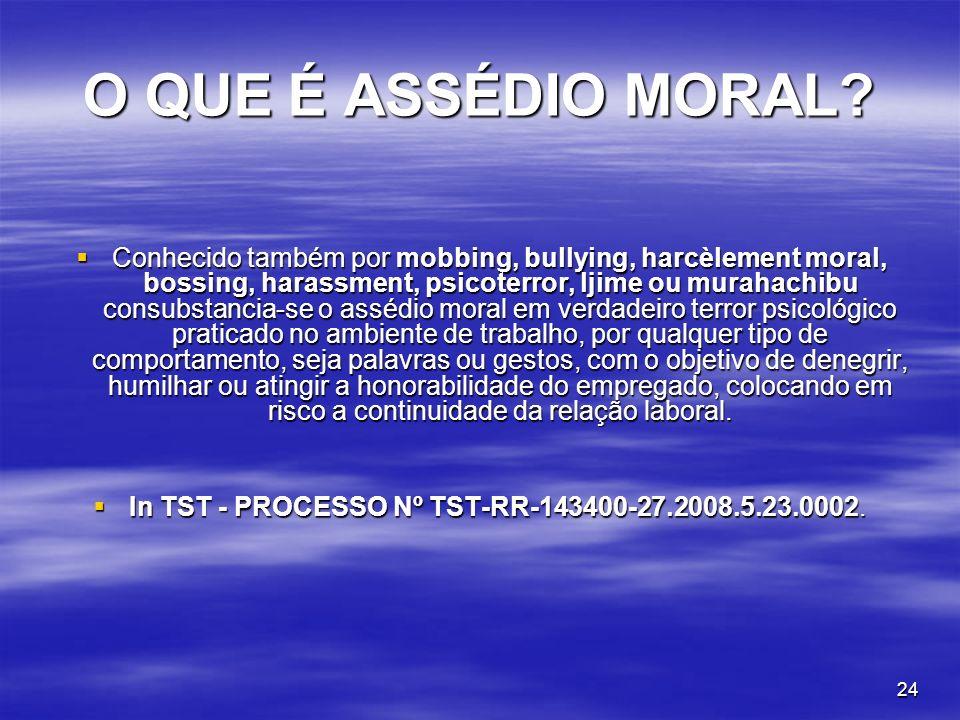 24 O QUE É ASSÉDIO MORAL? Conhecido também por mobbing, bullying, harcèlement moral, bossing, harassment, psicoterror, ljime ou murahachibu consubstan
