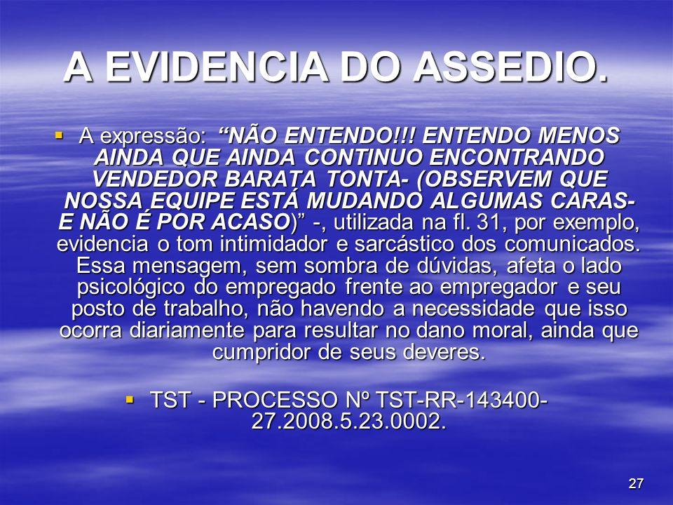 27 A EVIDENCIA DO ASSEDIO. A expressão: NÃO ENTENDO!!! ENTENDO MENOS AINDA QUE AINDA CONTINUO ENCONTRANDO VENDEDOR BARATA TONTA- (OBSERVEM QUE NOSSA E