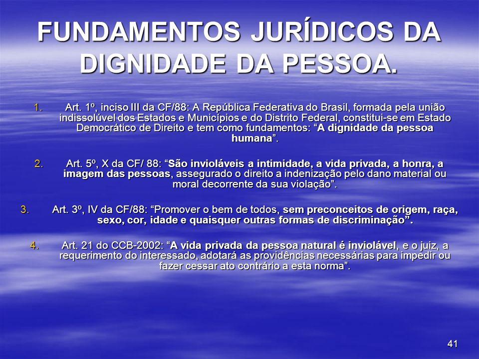 41 FUNDAMENTOS JURÍDICOS DA DIGNIDADE DA PESSOA. 1.Art. 1º, inciso III da CF/88: A República Federativa do Brasil, formada pela união indissolúvel dos