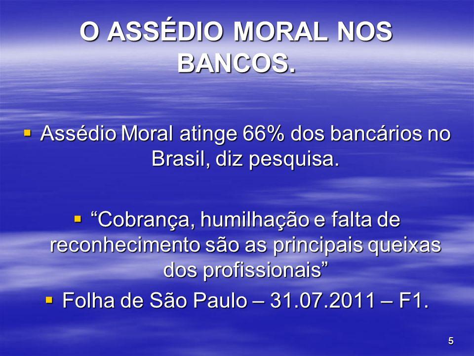 5 O ASSÉDIO MORAL NOS BANCOS. Assédio Moral atinge 66% dos bancários no Brasil, diz pesquisa. Assédio Moral atinge 66% dos bancários no Brasil, diz pe