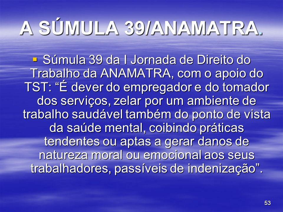 53 A SÚMULA 39/ANAMATRA. Súmula 39 da I Jornada de Direito do Trabalho da ANAMATRA, com o apoio do TST: É dever do empregador e do tomador dos serviço