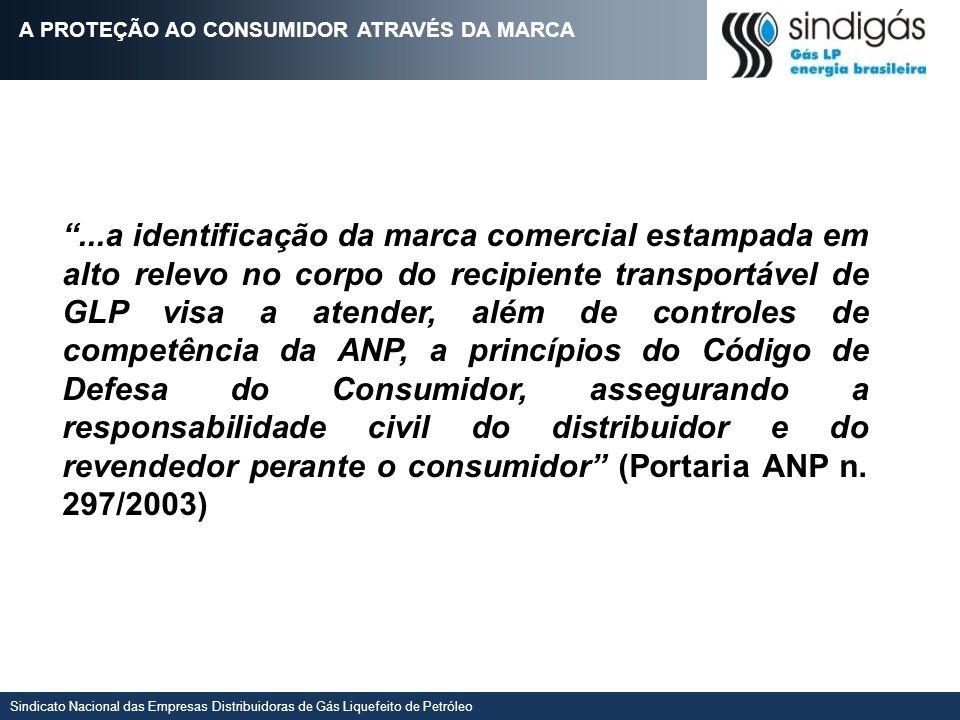 Sindicato Nacional das Empresas Distribuidoras de Gás Liquefeito de Petróleo...a identificação da marca comercial estampada em alto relevo no corpo do
