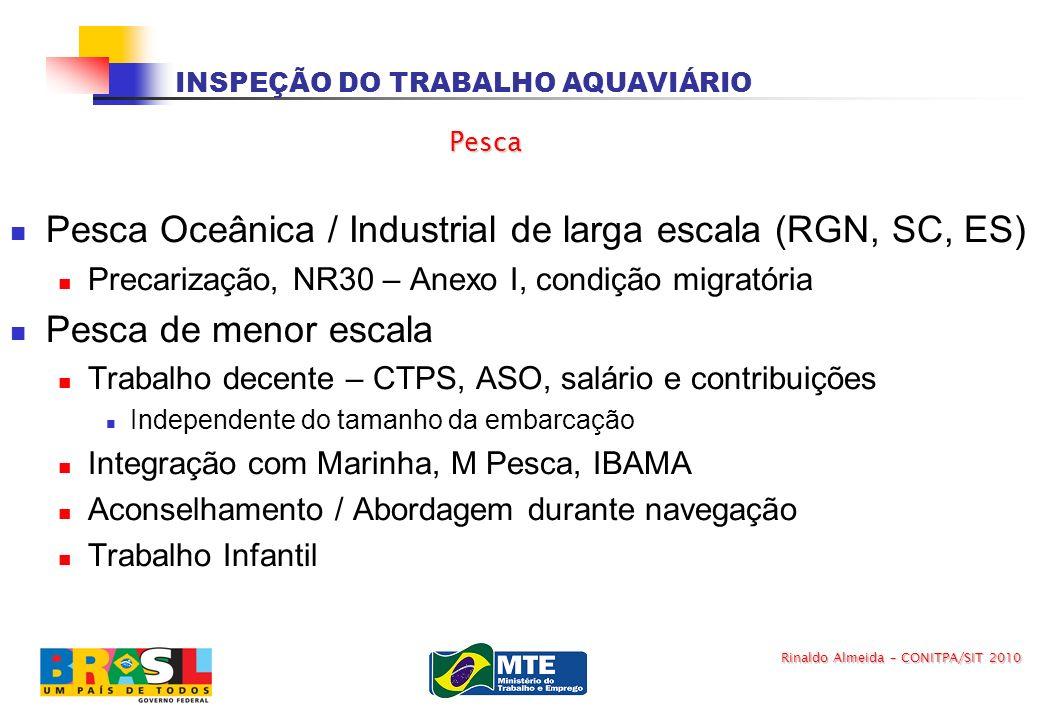 INSPEÇÃO DO TRABALHO AQUAVIÁRIO Pesca Oceânica / Industrial de larga escala (RGN, SC, ES) Precarização, NR30 – Anexo I, condição migratória Pesca de m