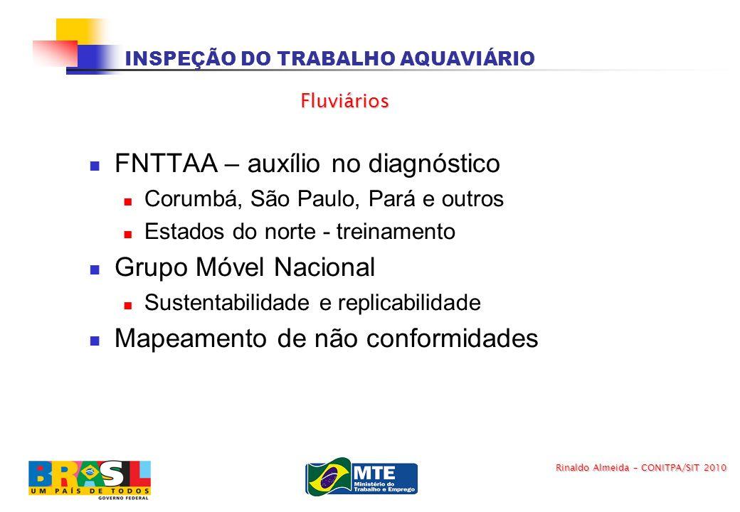 INSPEÇÃO DO TRABALHO AQUAVIÁRIO FNTTAA – auxílio no diagnóstico Corumbá, São Paulo, Pará e outros Estados do norte - treinamento Grupo Móvel Nacional