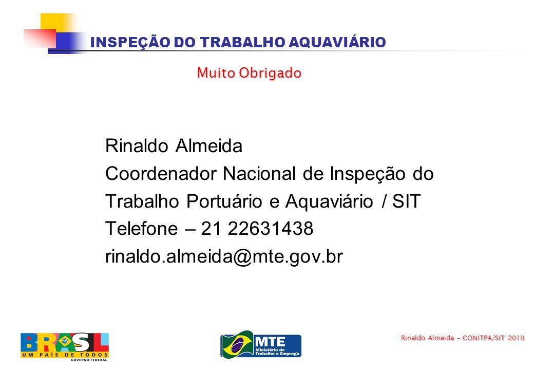 INSPEÇÃO DO TRABALHO AQUAVIÁRIO Rinaldo Almeida Coordenador Nacional de Inspeção do Trabalho Portuário e Aquaviário / SIT Telefone – 21 22631438 rinal