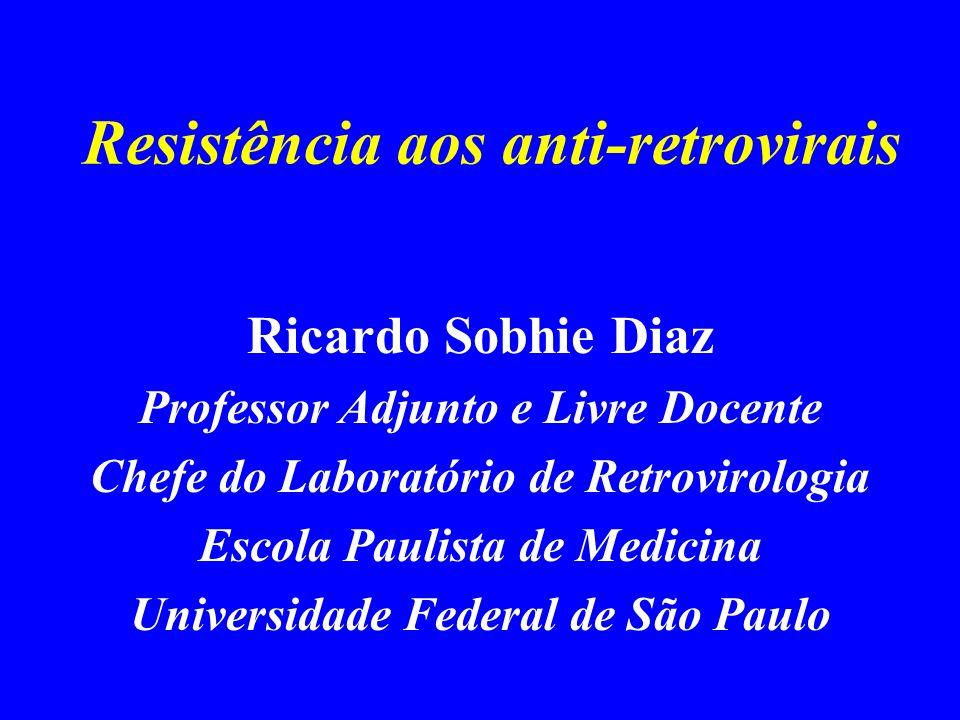 Resistência aos anti-retrovirais Ricardo Sobhie Diaz Professor Adjunto e Livre Docente Chefe do Laboratório de Retrovirologia Escola Paulista de Medic