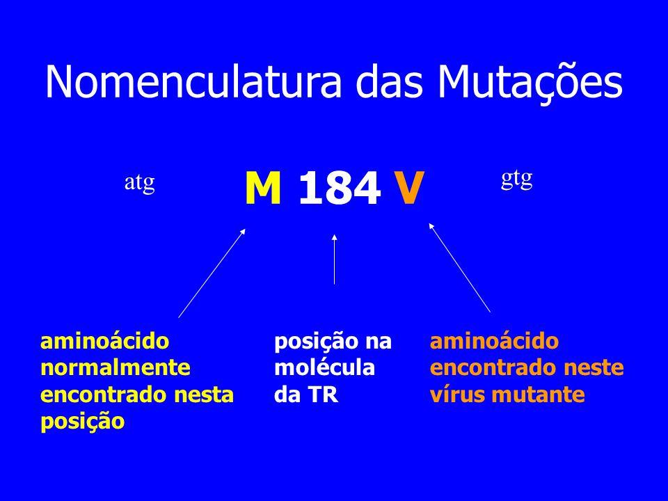 Nomenculatura das Mutações M 184 V aminoácido normalmente encontrado nesta posição posição na molécula da TR aminoácido encontrado neste vírus mutante