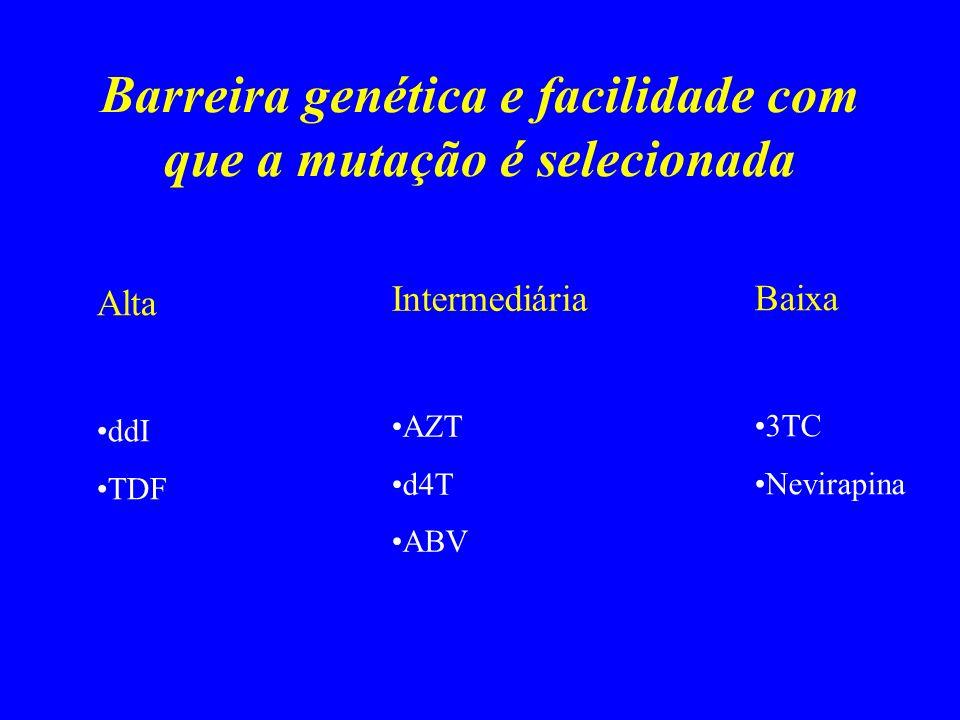 Barreira genética e facilidade com que a mutação é selecionada Alta ddI TDF Intermediária AZT d4T ABV Baixa 3TC Nevirapina