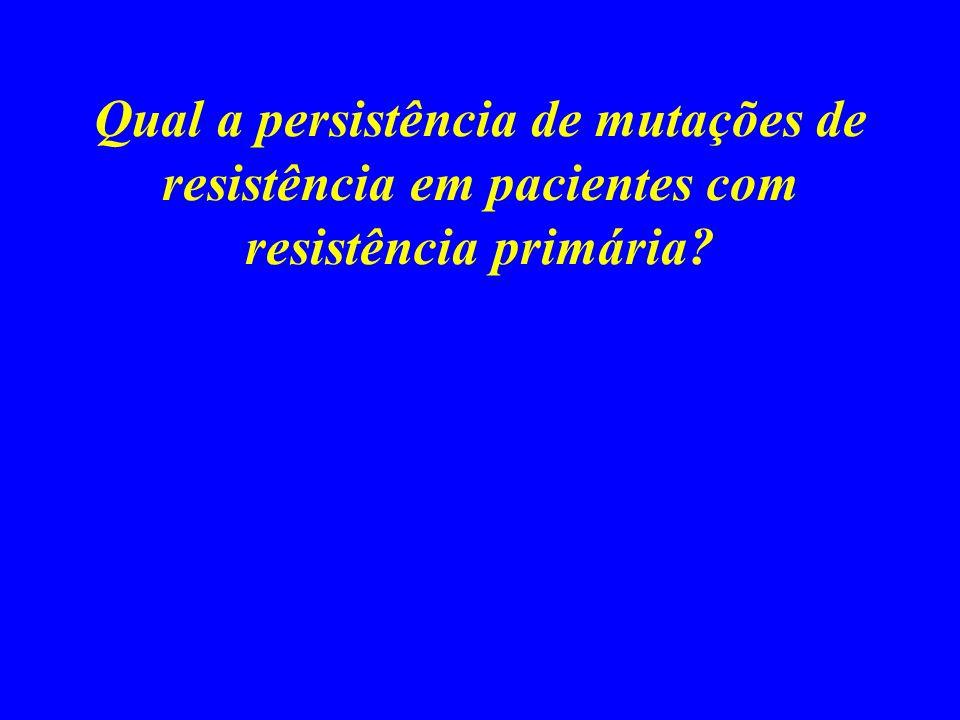 Qual a persistência de mutações de resistência em pacientes com resistência primária?