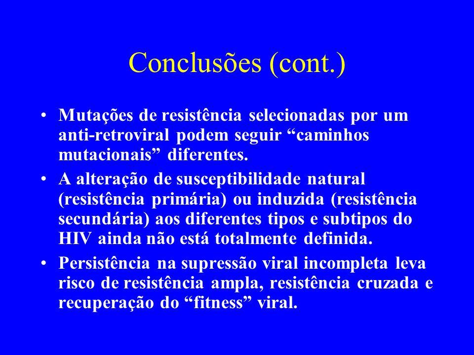 Conclusões (cont.) Mutações de resistência selecionadas por um anti-retroviral podem seguir caminhos mutacionais diferentes. A alteração de susceptibi