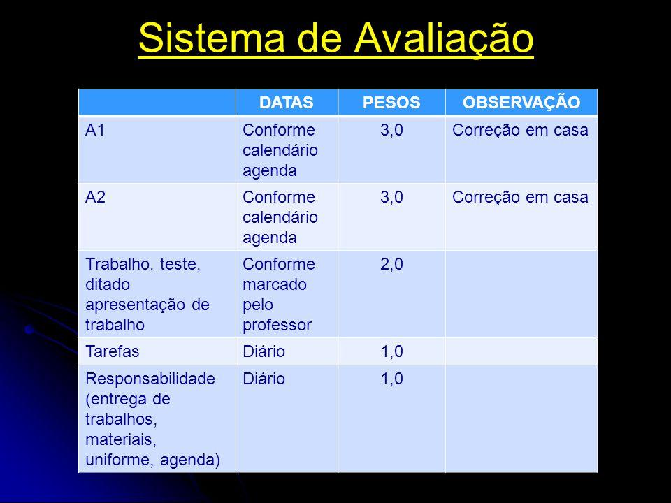 Sistema de Avaliação DATASPESOSOBSERVAÇÃO A1Conforme calendário agenda 3,0Correção em casa A2Conforme calendário agenda 3,0Correção em casa Trabalho,