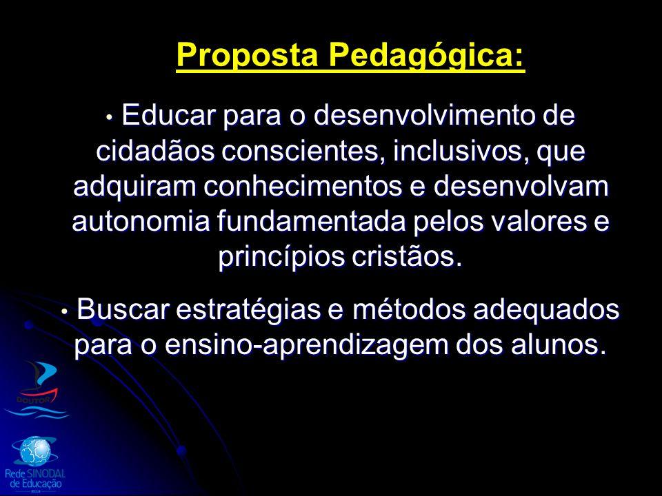 Proposta Pedagógica: Educar para o desenvolvimento de cidadãos conscientes, inclusivos, que adquiram conhecimentos e desenvolvam autonomia fundamentad