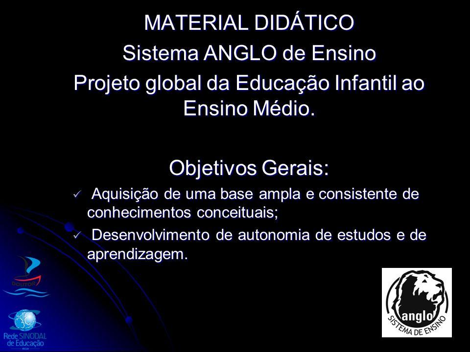 MATERIAL DIDÁTICO Sistema ANGLO de Ensino Projeto global da Educação Infantil ao Ensino Médio. Objetivos Gerais: Aquisição de uma base ampla e consist