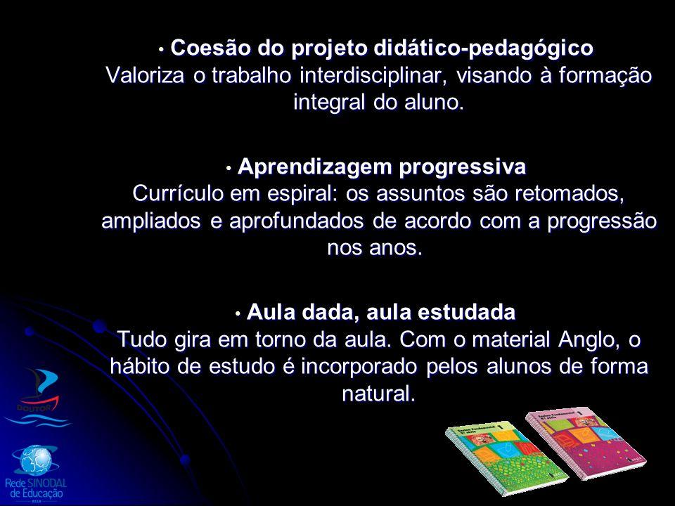 Coesão do projeto didático-pedagógico Valoriza o trabalho interdisciplinar, visando à formação integral do aluno. Coesão do projeto didático-pedagógic