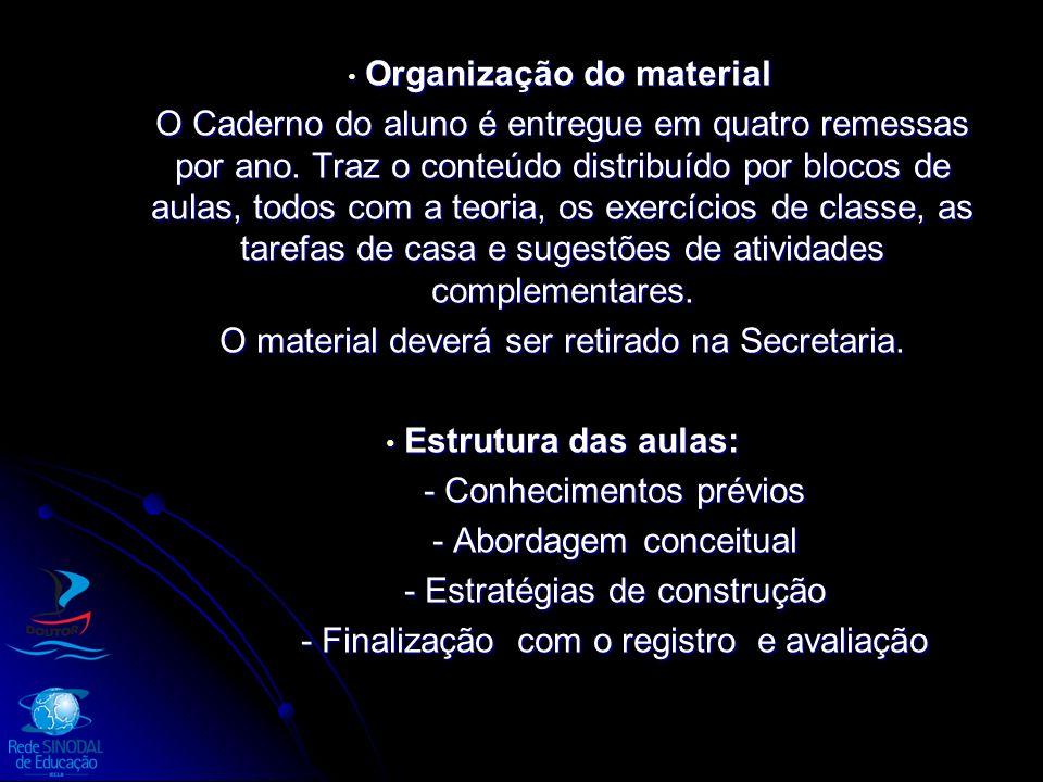 Organização do material Organização do material O Caderno do aluno é entregue em quatro remessas por ano. Traz o conteúdo distribuído por blocos de au
