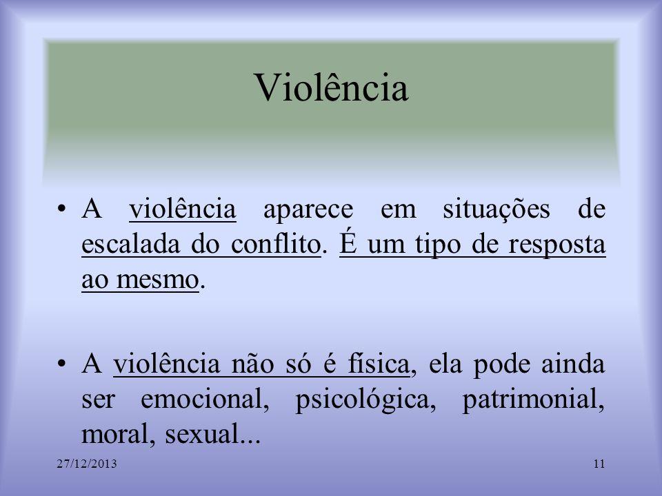 Violência A violência aparece em situações de escalada do conflito. É um tipo de resposta ao mesmo. A violência não só é física, ela pode ainda ser em
