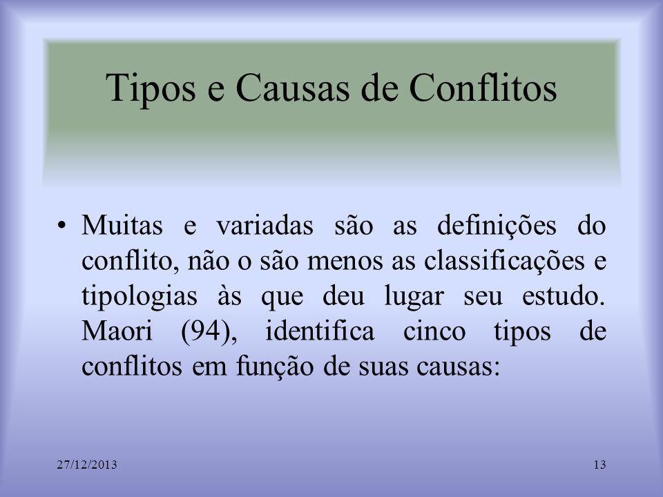 Tipos e Causas de Conflitos Muitas e variadas são as definições do conflito, não o são menos as classificações e tipologias às que deu lugar seu estud