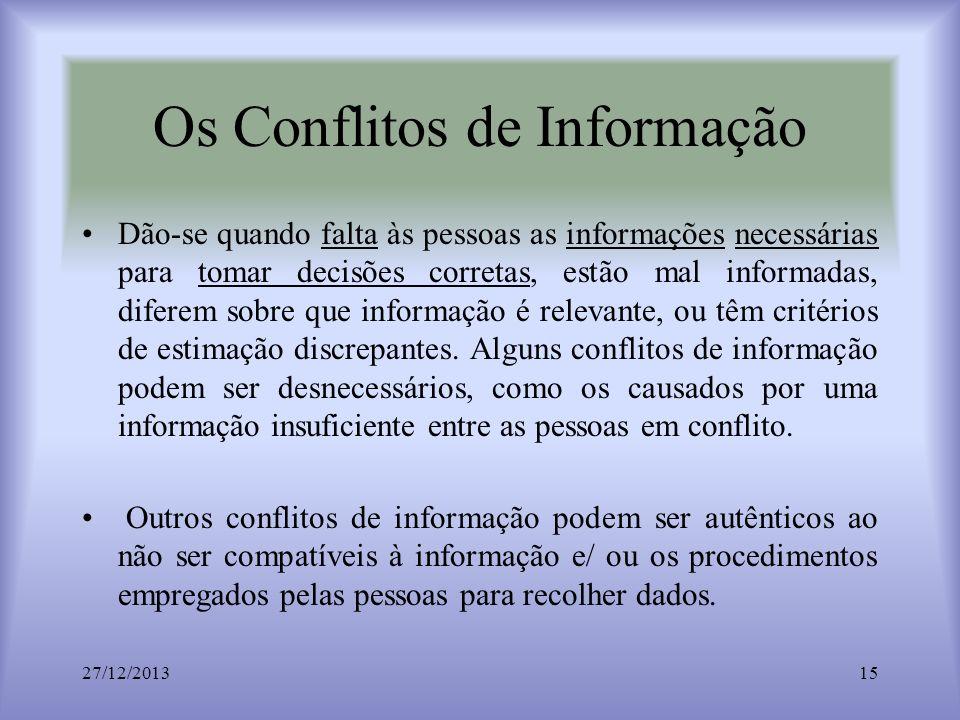 Os Conflitos de Informação Dão-se quando falta às pessoas as informações necessárias para tomar decisões corretas, estão mal informadas, diferem sobre