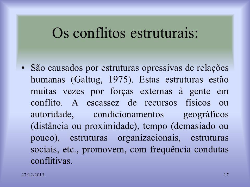 Os conflitos estruturais: São causados por estruturas opressivas de relações humanas (Galtug, 1975). Estas estruturas estão muitas vezes por forças ex