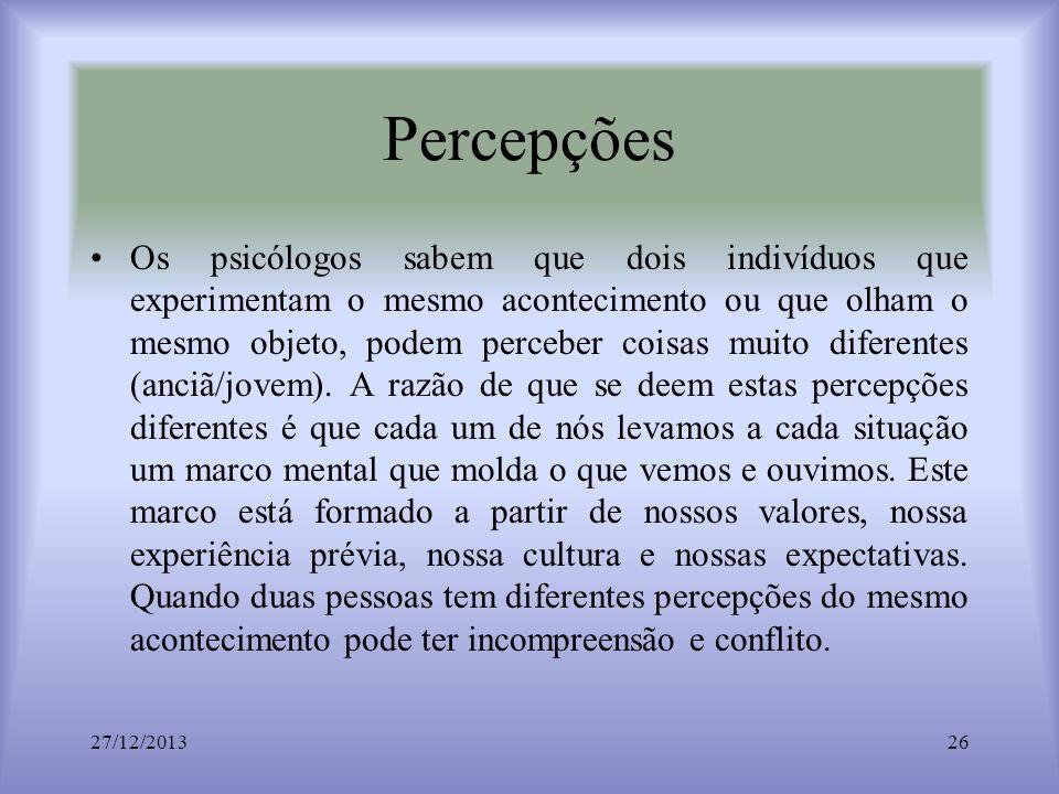 Percepções Os psicólogos sabem que dois indivíduos que experimentam o mesmo acontecimento ou que olham o mesmo objeto, podem perceber coisas muito dif