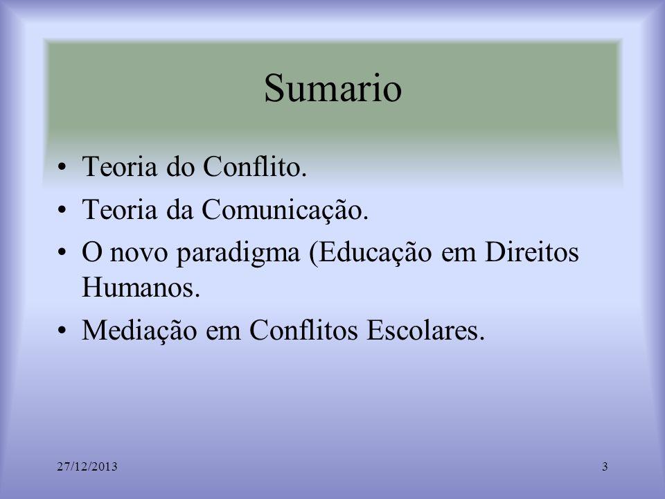 Sumario Teoria do Conflito. Teoria da Comunicação. O novo paradigma (Educação em Direitos Humanos. Mediação em Conflitos Escolares. 27/12/20133