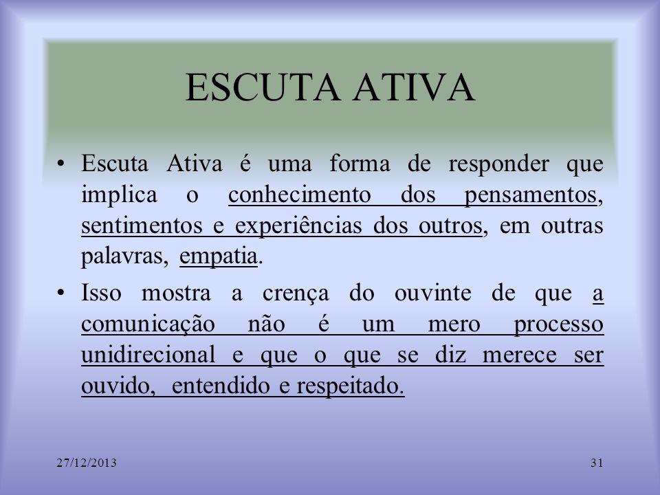 ESCUTA ATIVA Escuta Ativa é uma forma de responder que implica o conhecimento dos pensamentos, sentimentos e experiências dos outros, em outras palavr