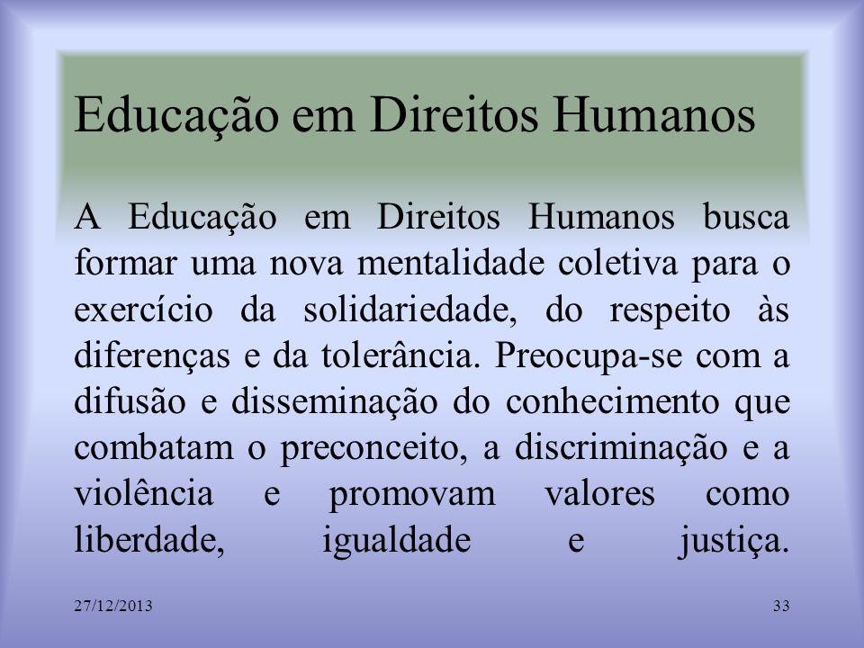 Educação em Direitos Humanos A Educação em Direitos Humanos busca formar uma nova mentalidade coletiva para o exercício da solidariedade, do respeito